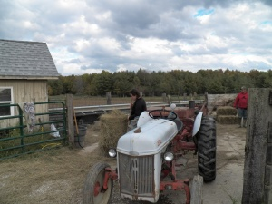 Josh and his wife help with the hay