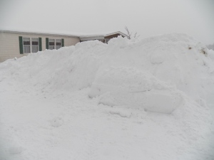 Snow pile by the house