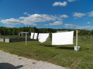 Sheets hanging on the new clothesline